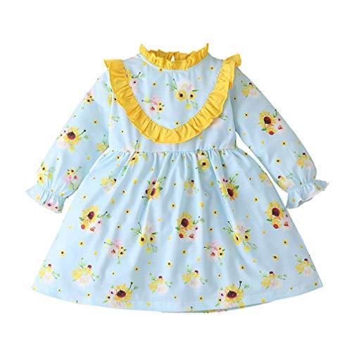 SOIMISS vestido floral para bebês meninas com estampa de girassol, manga com babados, roupa de outono e inverno saia longa (azul, tamanho 80 cm)