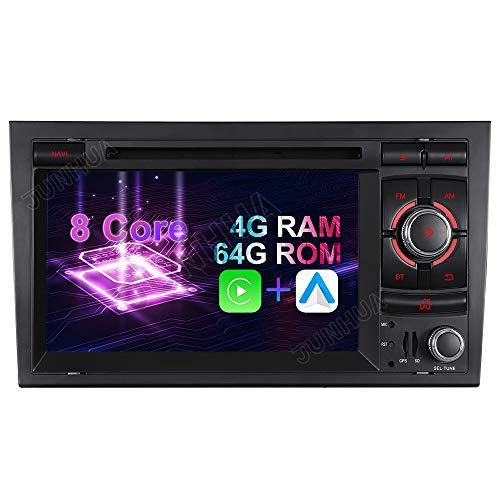 Android 10.0 8-Core, 4GB RAM+64GB ROM Android Auto Carplay Auto Audio Stereo Kopfeinheit Radio für Audi A4 DVD Player Radio 7 Zoll HD Touchscreen GPS Navigation Bluetooth WiFi SWC DAB (Model 1)