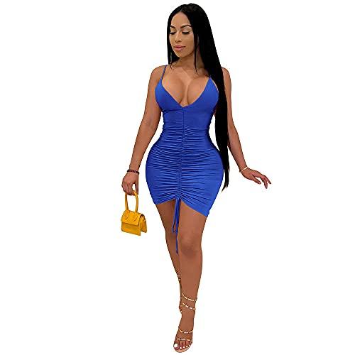 Vestido de Discoteca con Tirantes Colgantes para Mujer sensación de ropa-2418 Negro_L