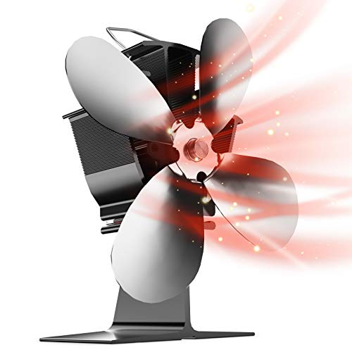 Toplanet Kamin Ventilator, 40°C Schnellstart Klein Ofen Ventilator, Wärmebetriebener Ofenventilator mit 4 Blättern für Kaminöfen Holzöfen Öfen, Umweltfreundlicher Leiser(Schwarz) [Energieklasse A+++]