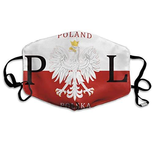 Polnische Flagge Polen Polska Männer Frauen Atmungsaktive, Bequeme Gesichtsschutzhülle mit elastischem Gurt für die persönliche Gesundheit Verschiedene Anwendungen