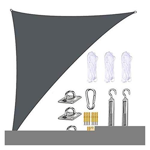 WlP Toldos de sombrilla de jardín a Prueba de Agua para jardín, toldo Triangular, Resistente al Agua, Bloque UV, ángulo Recto para Patios al Aire Libre, 4 MX 4 MX 5,7 m (Color : Deep Grey)