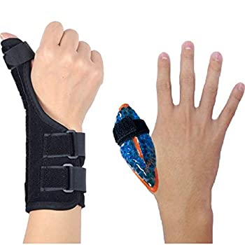 BodyMoves Thumb Splint Brace Plus Finger Hot and Cold Gel Pack- for de quervain s tenosynovitis Tendonitis Trigger Thumb spica,Carpal Tunnel CMC Adjustable wrist and Reversible Left and Right Hand
