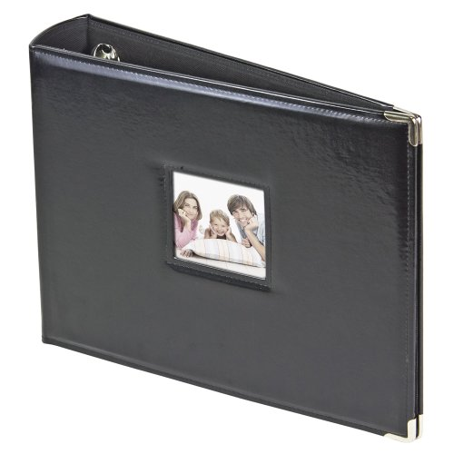 2PO 3-Ring Photo Binder Album with Sewn Leatherette Frame, Acid-Free, 12 x 12 Inserts (Black)