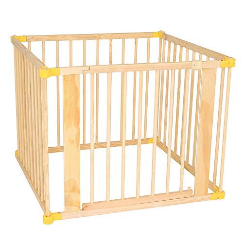 dibea DP00585 Holz Laufstall für Baby und Kleinkind, Laufgitter mit Tür, 270° klappbar und vormontiert, 4 Elemente je 90 x 68 cm, braun