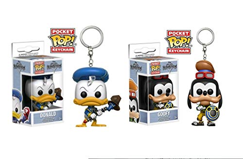 Juego de 2 llaveros Funko Pop, figura: Kingdom Hearts Donald + Goofy