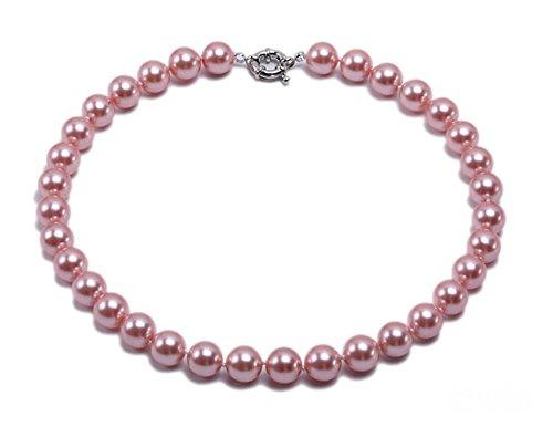 JYX Perlenkette Echte 12 mm Runde Rosa Südsee Muschel Perlen Halskette für Damen 45 cm