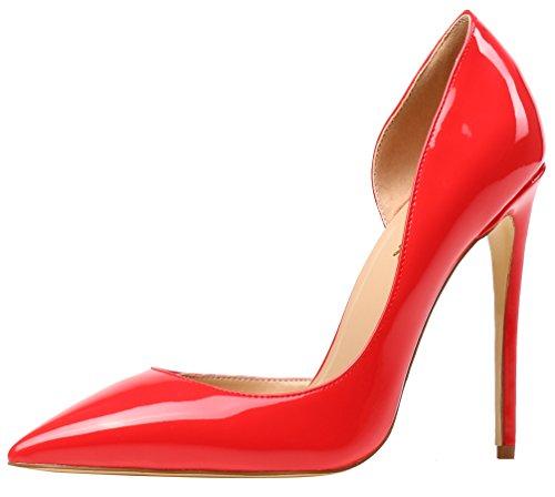 AOOAR Damen High Heels Mode Schuhe Orangerot Lackleder Kleid-Partei Pumps EU 42