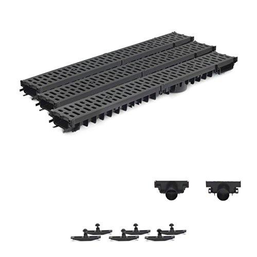 3m Entwässerungsrinne Terrassenrinne Stegrost Kunststoff komplett SET, System A15 70mm, Schwarz Classic, NEUHEIT Rinne mit integrierter Dichtung Klick System