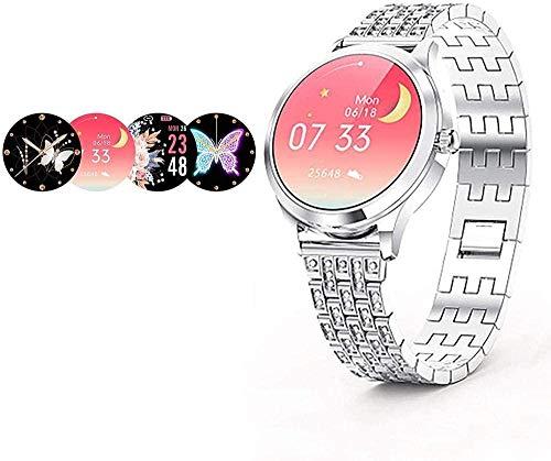 Reloj inteligente femenino de 1.1 pulgadas Diseño estético moderno Mostrar su encanto Notificación de mensaje de gestión de salud Monitoreo del sueño Regalos para mujeres-Plata