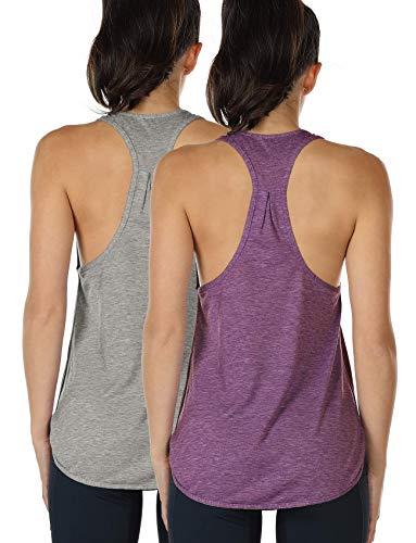 icyzone Camiseta sin Mangas de Fitness para Mujer Chaleco Deportivo, Pack de 2 (S, Gris/UVA Morada)