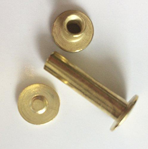 Top Lamination 25 Buchschrauben 15 mm vermessingt Gürtelschrauben, Nieten zum Schrauben, Schraubnieten