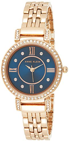 Anne Klein Women's Premium Crystal Accented Rose Gold-Tone Bracelet Watch
