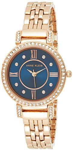 Anne Klein AK/2928 - Reloj de pulsera para mujer, Oro rosa/Azul,