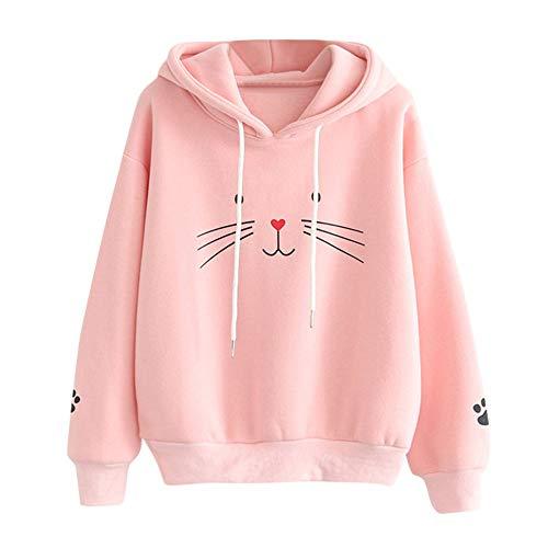 Xmiral Damen Hoodies Langarm Cat Print Tasche Dekoration Sweatshirt Pullover Tops (S,Rosa)