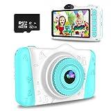 WOWGO Cámara para Niños, 3,5'' Digital Selfie Cámara Infantil Cámara Vídeo con 12 Megapíxeles, 1080P HD, Lente Dual, 32 GB Tarjeta TF, Pegatinas, Regalo para Niños