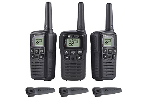 Midland T10 X-Talker T10 22 Channel FRS Walkie Talkie - Up to 20 Mile Range Two-Way Radio, 38 Privacy Codes & Weather Alert (3 Pack) - Black