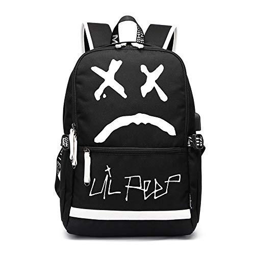 Lil peep Schulrucksack Koreanische Version Geschäftsreisen Rucksack College School Computer Bag Work Rucksack drucken Unisex (Color : Black07, Size : 37 X 16 X 43cm)