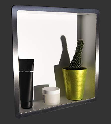 Nichia - Estantería para baño empotrable, serie Tino, modelo TN, color blanco