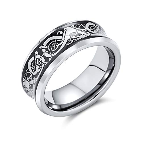 Bling Jewelry Black Celtic Knot Dragon Inlay Couples Titanium Wedding Band Rings for Men for Women Silver Tone Comfort Fit 8MM