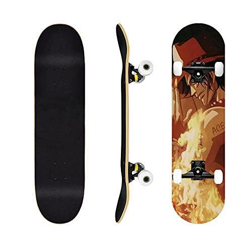 One Piece Ace Skateboard Anime Skateboard Cruiser Mapate Skate Street Scooter Principiante Adulto Niño Muchacho Mueca Imagen Patinea Puede ser Personalizado