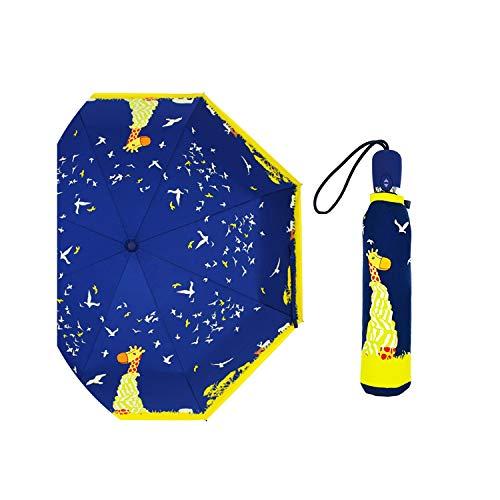 feeling dreamer Regenschirm mit niedlichem Katzen-Motiv, kreatives Cartoon-Mädchen, automatischer Regenschirm, 3 Faltbare Reisetaschen, Uby08, Blau