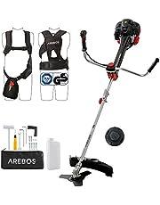Arebos Premium benzine 2-in-1 grastrimmer | bosmaaier, 3 pk, 52 ccm met professioneel vest anti-vibratiesysteem en ergonomische handgrepen