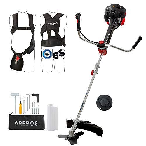 Arebos Premium Benzin 2in1 Rasentrimmer | Motorsense 3PS | 52ccm mit Profi-Weste | Anti-Vibrationssystem und ergonomische Griffe