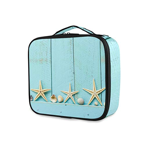 Seashell Ocean Starfish Toiletry Pouch Storage Travel Makeup Bag Tools Cosmetic Train Case Wallet Portable