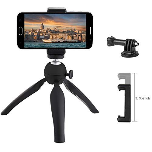 Jennary Mini Trípode para movil Mini 360 Rotación Escritorio Mesa Soporte Móvil Trípode Compatible con iPhone, iPhone X Insta360 ONE X, DJI y otras cámaras de acción-Negro