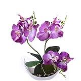 Flikool 3 Ramas Orquídeas Artificiales con Maceta in Plástico Bonsai de Phalaenopsis Flores Artificial Plantas Artificiales de Flor Mariposa para Hogar Balcón Oficina Decoración - Púrpura