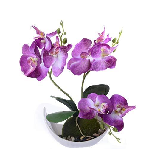 Flikool 3 Ramas Orquídeas Artificiales con Maceta in Plástico Bonsai