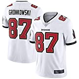 PUCQ Maillot Rob Rugby Homme Gronkowski Outdoor Tampa Bay Maillot De Football Américain Buccaneers Personnalisé # 87 T-Shirt Broderie Maillot Limité - Blanc-Grand