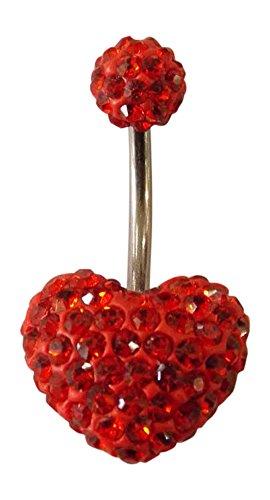 Paletti navelpiercing kristallen stenen 15mm rood hart 6mm rode bal