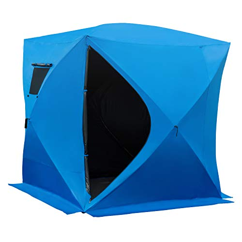 Outsunny 4 Person Waterproof Insulated Portable Pop-Up Ice Fishing Shelter with 2 Doors - Blue