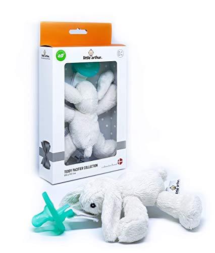 Little Arthur Häschen Plüsch Kuscheltier mit Abnehmbarer Schnuller | Medizinisch Zertifiziertes Silikon | Ab 0-6 Monate | Neugeborenen Baby Geschenk Junge & Mädchen
