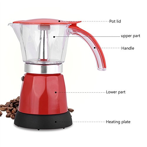 Moka Express Espressokocher,ASHATA Moka Express Espressokocher 300ml Cafe Maker,480W Elektrischer Espressokocher Moka Pot Espressomaschine Kaffeemaschine 2 Farben EU Stecker(Rot)