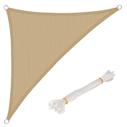 WOLTU Sonnensegel Dreieck 4,2x4,2x6m Sand atmungsaktiv Sonnenschutz HDPE Windschutz mit UV Schutz für Garten Terrasse Camping