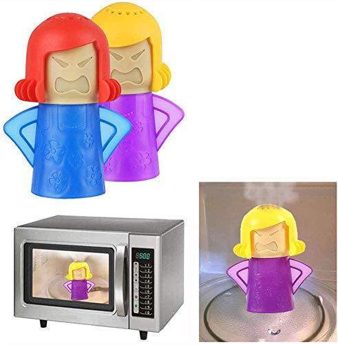 Abnaok Mikrowellen-Reiniger, 2 Stück, Angry Mama Mikrowellen-Ofen-Dampfreiniger, Küchenreiniger, leicht zu reinigen, desinfiziert mit Essig und Wasser (blau + lila)