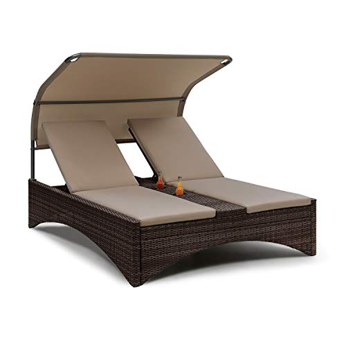 blumfeldt Eremitage Double Lounger Sun Lounger - Aluminium Frame, Rattan, Water-Repellent Sunroof, Cushion, Backrest Adjustable, For 2 persons, Max. 220 kg, 2 Drink Holders, Colour: Brown