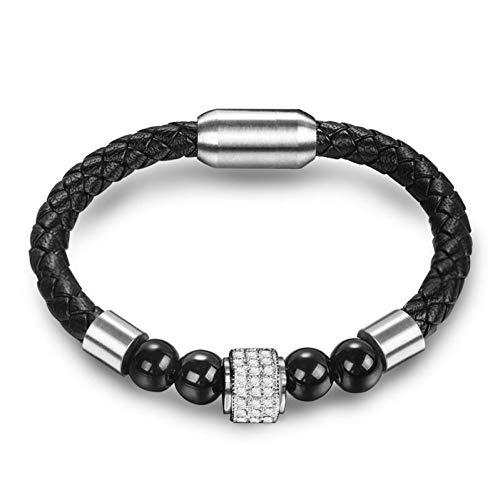 QIUXIANG-EU Lederarmband Naturstein Perlen Armband Einzigartige Panther Perlen Armreif Edelstahl Magnetverschlüsse Punk Männliche Geschenke