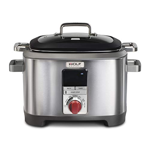 Wolf Gourmet Programmable 6-in-1 Multi Cooker with Temperature Probe, 7 qrt, Slow Cook, Rice, Sauté, Sear, Sous Vide, Stainless Steel, Red Knob (WGSC100S)