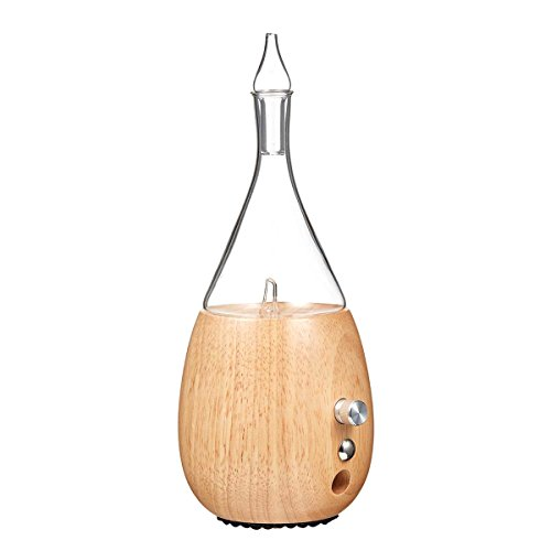Raindrop 2. 0 nebulizing diffuser for essential oil/aromatherapy by organic aromas light-colored wood base and glass reservoir with touch sensor light switch