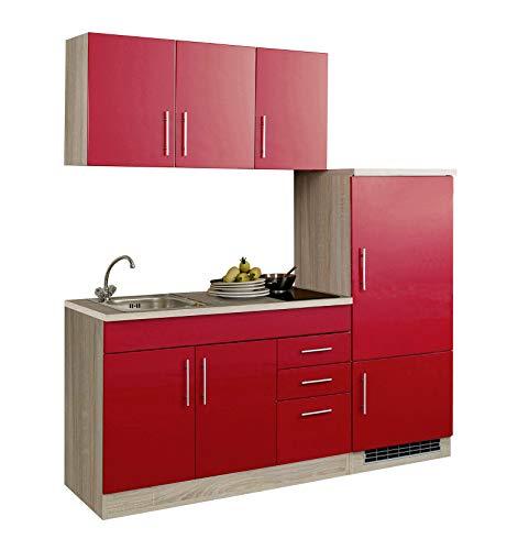 lifestyle4living Singleküche mit Glaskeramikkochfeld und Kühlschrank | Miniküche 180 cm in Hochglanz Rot mit Arbeitsplatte, Spülbecken und Kochfeld