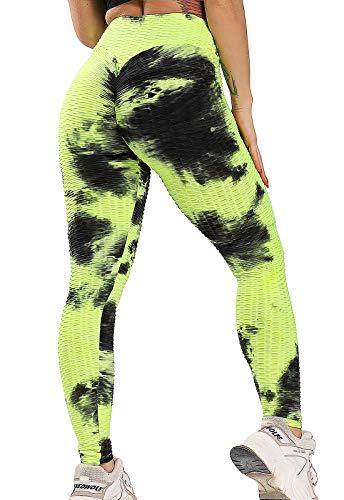FITTOO Leggings Push Up Mujer Mallas Pantalones Deportivos Alta Cintura Elásticos Yoga Fitness #1 Amarillo & Negro S