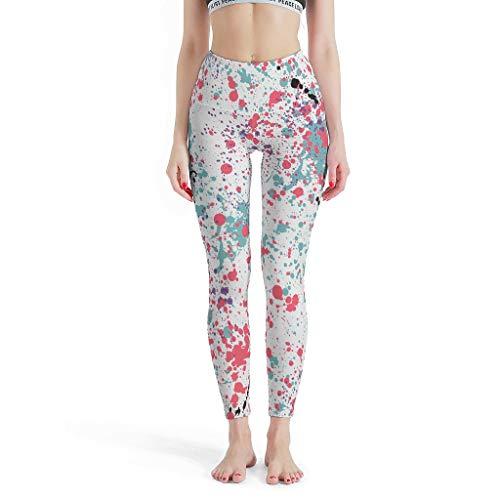 DAMKELLY Store Polainas deportivas para mujer con tinta de inyección de tinta regular de cintura alta – Pantalones para Gym White s