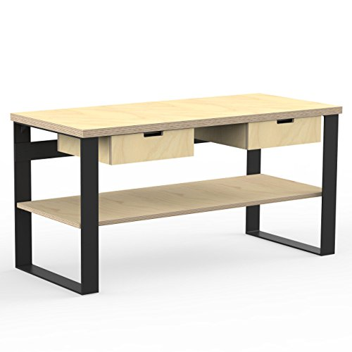 AUPROTEC Profi Design Werkbank 1700 x 750 x 850 mm Arbeitsplatte Multiplex 40mm mit 2 Schubladen und Ablage Holz Werkbankplatte Multiplexplatte Industriequalität Massiv Arbeitstisch