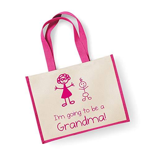 60 Second Makeover Limited Grand sac de jute I'm Going To Be A mamie Rose Bag fête des mères Nouvelle Maman anniversaire Cadeau de Noël