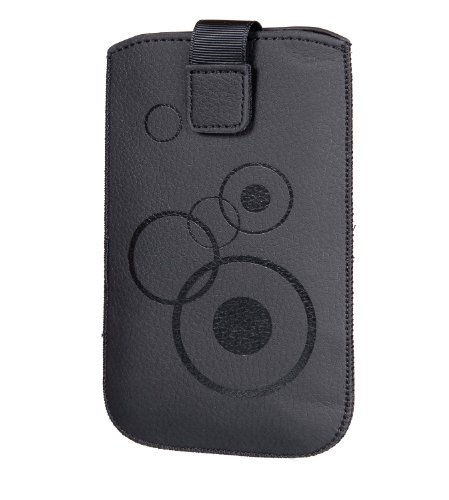 Handytasche Circle passend für Huawei Honor 6 Handy Tasche Schutz Hülle Slim Case Cover Etui schwarz mit Klettverschluss