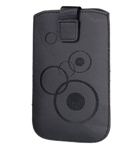 Handytasche Circle passend für Huawei Honor 3C H30-U10 Handy Tasche Schutz Hülle Slim Hülle Cover Etui schwarz mit Klettverschluss